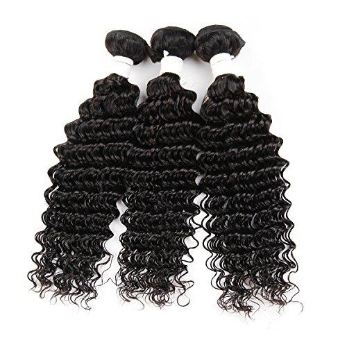 8-61 cm (20-61 cm) Deep Wave Cheveux humains 3 trames # 1b Noir Nature