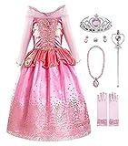 KABETY Mädchen Prinzessin Aurora Kostüm Party Kleid - Rosa mit Zubehör - 7-8 Jahre (Herstellergröße: 150)