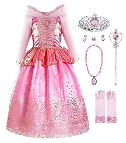 KABETY Mädchen Prinzessin Aurora Kostüm Party Kleid - Rosa mit Zubehör - 4-5 Jahre (Herstellergröße: 120)