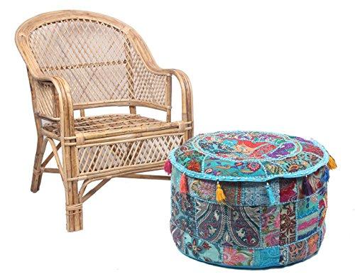 JTH Antik bequem Boden Baumwolle Fuß Hocker handgefertigt Patchwork osmanischen Pouf Abdeckung (Größe: 55,9x 30,5x 55,9cm)