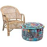 jth envejecido taburete cómodo piso pie de algodón hecho a mano Patchwork Otomano Puf infantil con diseño (tamaño: 22x 12x 22cm)