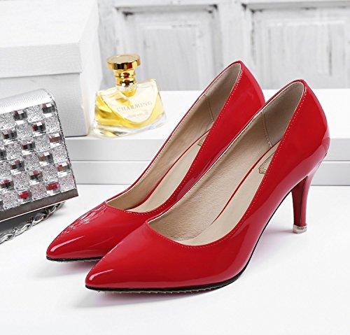 SEXYHER Peinture 2.4 de talon haut de mariage Party de bureau femmes Chaussures-SHOHE003-2.4 Rouge