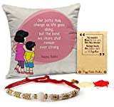 #2: TiedRibbons Rakhi for Brother Printed Cushion(12 Inch X 12 Inch) with Rakhi and Roli Chawal pack