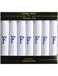 7 Pack De Pañuelos Blanco Satinado Hombres Con Bordes Con Azul Las Iniciales Bordadas, Iniciales Y Varios Para Elegir