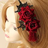 donne gotico Lace rose Flower Tassel party Prom Hairband