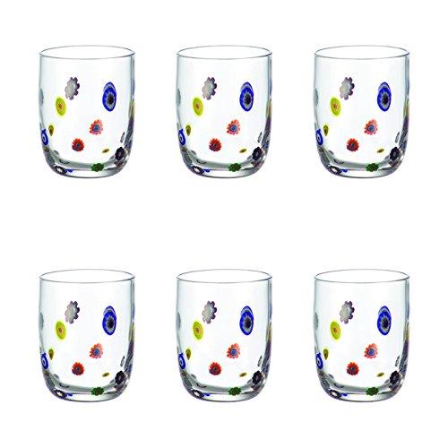 Leonardo Millefiori Becher klein, 6-er Set, 455 ml, handgefertigtes Klarglas, 053840 Soft-drink-glas
