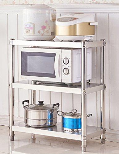 HWF Etagères de cuisine Rangement de four à micro-ondes Finition Rangement de rangement de vaisselle Étagère de cuisine en acier inoxydable 3 couches Étagères en étagère pour étagères