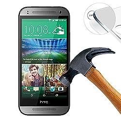 (None pour HTC ONE Mini) Lusee® HTC One mini 2 Film de Protection écran en Verre Trempé ULTRA RÉSISTANT INDICE Dureté 9H Haute transparence( plus dure que un couteau) - il est vendu avec un torchon de nettoyage et alcool isopropilique