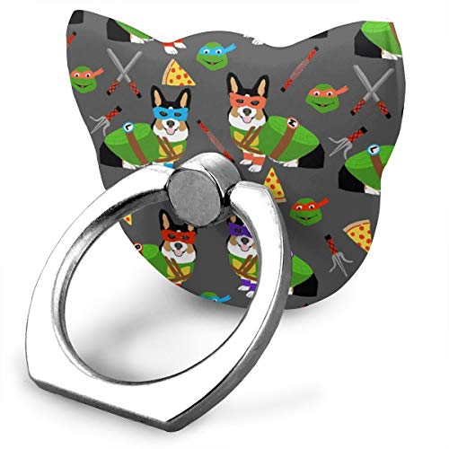 best& Tri Corgi Ninja Turtle - Dog, Dogs, Cartoon, Costume, Halloween - Charcoal_17720 360 Degree Swivel Creative Ring Buckle Bracket Multi-Functional Ring Bracket Stand for Universal Phone