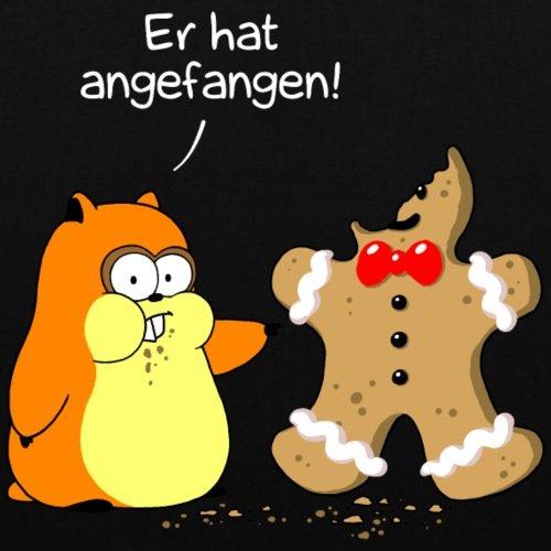Spreadshirt Criceto Contro Gingerbread Man Natale Borsa Di Stoffa Nera