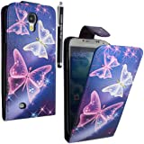 STYLEYOURMOBILE {TM} SAMSUNG GALAXY S4 S IV i9500 ULTRA BUTTERFLY BLUE PU LEATHER MAGNETIC FLIP CASE COVER + FREE STYLUS