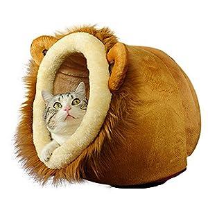Efanr Dessin animé Lion Style chaud en peluche pour animal domestique Maison Condo Grotte avec coussin amovible à l'intérieur de qualité de coton Chien Chat Lit Niche Canapé pour Animal Domestique d'Chiot Kitty Teddy Rest Tapis de sol