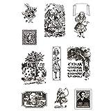 Mein ji Stempel TPR Vintage Alice Silikon transparent Silikonstempel transparent für DIY Stempel Scrapbooking Album Karte Foto Tagebuch Dekoration Kunsthandwerk -11 * 16 cm-1pc