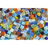 Bazare Masud e.K. 1000 stuks glas mozaïeksteentjes bonte mix 1 x 1 cm van ca. 30 kleuren ca. 700 g.