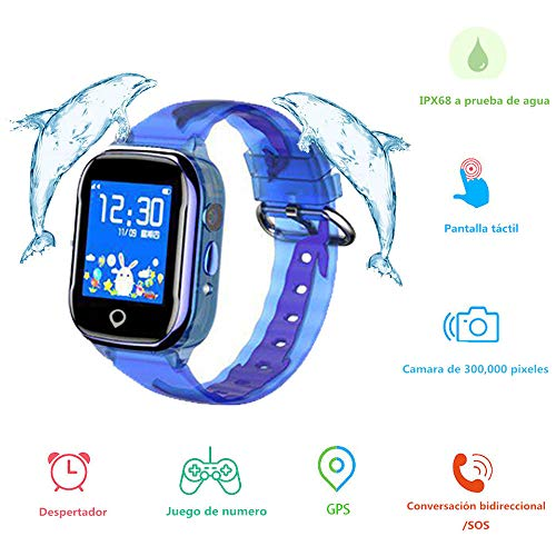 Reloj Inteligente Niños, MUSSON SmartWatch IPX68 Impermeable GPS Rastreador SIM Phone 1.44...