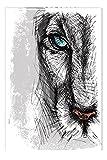 Startonight Leinwand Wand Kunst Schwarz und Weiß Auge von Katze, Doppelansicht Überraschung Modernes Dekor Kunstwerk Gerahmte Wand Kunst 100% Ursprüngliche Fertig zum Aufhängen 60 x 90 CM