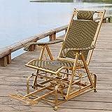 Rattan Iron Art Rattan Rollers Schaukelstuhl, für den Innenbereich, Balkon, Sessel (Farbe: Gold/Grün) - -