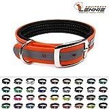 LENNIE BioThane Halsband, gepolstert, Dornschnalle, 25 mm breit, Größe 44-52 cm, Neon-Orange-Reflex, Aufdruck möglich