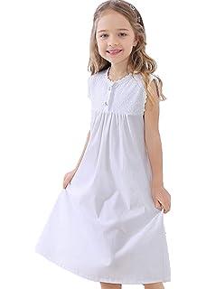 HIHIvia Nachthemd Wei/ß Kinder Armellos Baumwolle Nachtw/äsche f/ür M/ädchen Prinzessin Vintage Pyjama Nightdress Sleepwear Lang