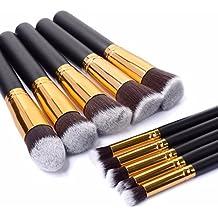 Juego de 10 brochas de maquillaje Kabuki para base de maquillaje, sombra de ojos, cejas, corrector, pinceles de polvo – Viteman Group Ltd