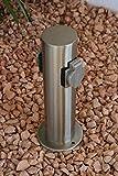 Steckdosensäule 2-fach Edelstahl Aussensteckdosen mit Kinderschutz Energiesäule Energieverteiler IP44' Made for Licht-Idee® '