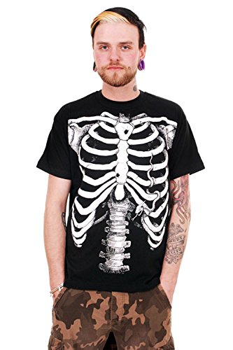 Emo-rock-shirt (White Skeleton Mens Tee Punk/Rock emo Halloween)