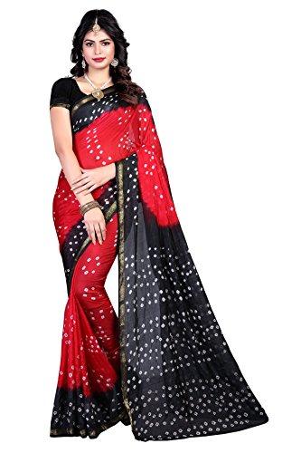 Shree Sondarya Bandhani Red and Black Tussar Silk Bandhani Saree With Blouse...