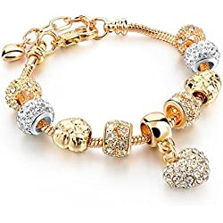 Hot and Bold Gold Plated Pandora Love/Heart/Valentine Charms DIY Dangling Bracelet. Daily/Party Wear Stylish Fashion Jewellery for Women/Girls.