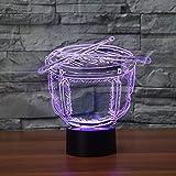 Touch 7 farbe musikinstrument schlag trommel 3d led nachtlicht hause kinderzimmer dekorative beleuchtung musik fans geschenk han-8843