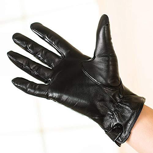Agelec Business Touchscreen Dünne Handschuhe Schaffell Herbst Und Winter Kaschmir Warme Motorradhandschuh (Color : Thin Lining, Größe : M)