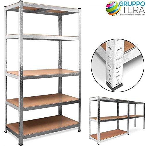 Bakaji scaffale porta oggetti 5 ripiani metallo zincato ripiani legno, scaffalatura officina magazzino cantina garage per carichi pesanti 180 x 90 x 40cm