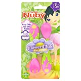 Nuby Juego De Cubiertos De Acero Inoxidable Del Niño De Flor (Paquete de 2)
