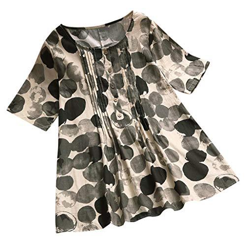 olide Flroal T-Shirt Rundhals Ausschnitt Womens Casual Plus Size Lose Leinen ÄRmel Print Button Tanic Shirt Bluse ()