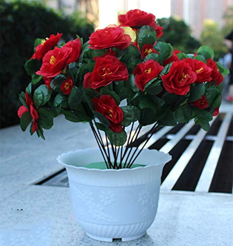 AISHUAIGE Simulations-Azalee-roter Rhododendron-künstlicher Blumen-Topf-Pflanzen-Satz-im Freien Blumen-Bett-Korridor-Schultreppen, die Blumenkunst verzieren, wählen, 4 - Blume-bett-satz