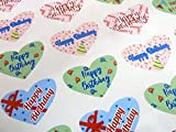 Pack of 50 Colourful Happy Birthday Greeting Hearts Stickers, Heart Shaped Labels for Cards, Envelopes and Gifts