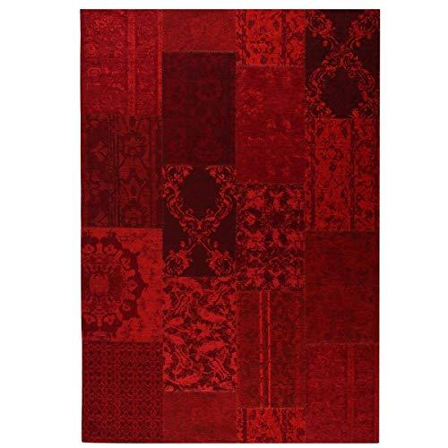 havatex Flachgewebe Teppich Antika Patch Mix - Farben: Rot & Grau | Vintage Design/Used Look | Karo-Muster mit Ranken | Wohnzimmer Schlafzimmer Jugendzimmer, Farbe:Rot, Größe:120 x 170 cm