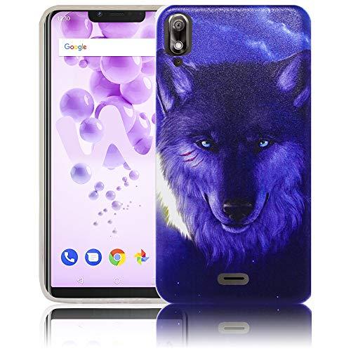 thematys Passend für Wiko View 2 GO Nacht Wolf Handy-Hülle Silikon - staubdicht stoßfest & leicht - Smartphone-Case