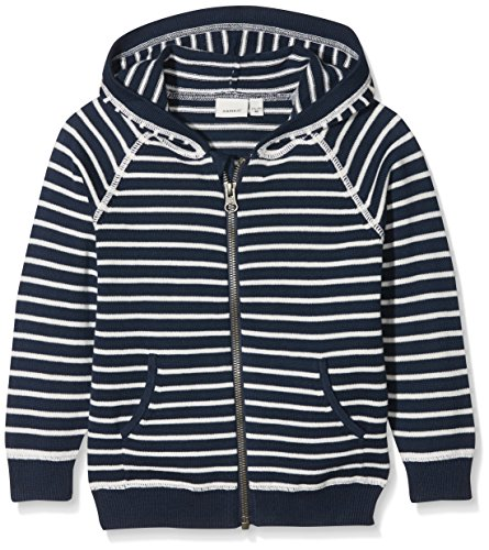 NAME IT Baby-Jungen Sweatjacke Nmmdanny LS Knit Card W Hood Box, Blau (Dress Blues Stripes:Stripes), 104