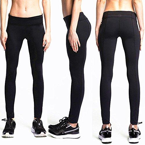 COOLOMG Damen Kompressionhose Tights Lang Leggings Base Layer Für Fitness Running Yoga Jogging Schwarz L (Schwarz Top Danskin)