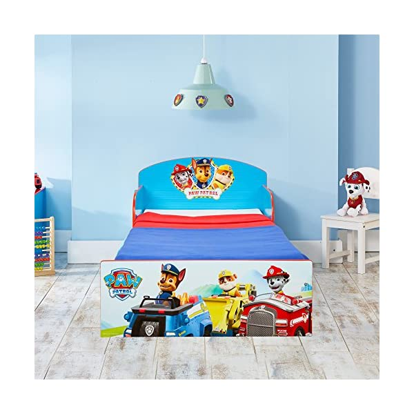 Paw Patrol Kids 505PWP Toddler Bed by HelloHome - Red/Blue Paw Patrol Drift off dreaming with your favourite Paw Patrol characters. Perfect size for toddlers, low to the ground with protective and sturdy side guards to keep your little one safe and snug. Fits a standard cot bed mattress size 140cm x 70cm, mattress not included. Part of the Paw Patrol bedroom furniture range from HelloHome 3