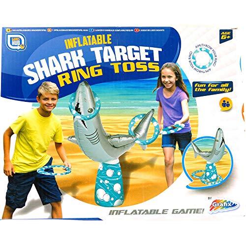 AUFBLASBAR RING WURF HAI PARTY KINDER-SPAß STRANDBAD WIRF SPIEL KINDER NEU (Spiel Hai Spiele)