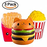 DOTBUY Squishies Spielzeug, Squishies Slow Rising Charme Stress Relief Spielzeug Schlüssel Ketten Charms Kinder Spielzeug Dekor Geschenk (Pommes + Burger Katze + Popcorn)
