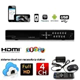 DVR 4 CANALI ch H.264 REGISTRATORE VIDEOSORVEGLIANZA Controllo WEB LAN VGA USB