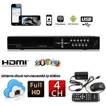 DVR 4 CANALI ch H.264 REGISTRATORE VIDEOSORVEGLIANZA Controllo WEB LAN