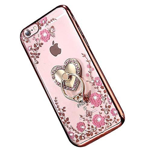 """Miagon Glitzer Durchsichtig Transparent Blumen Schmetterling Galvanik Silikon Hülle mit 360 Grad Diamant Ring Ständer Strass Schutzhülle für iPhone Xr 6.1"""""""