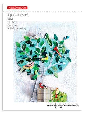 Set 4 Recycling-Karton Popout 3D Glückwunschkarte - Taube, Geschenk zum Zusammenfügen
