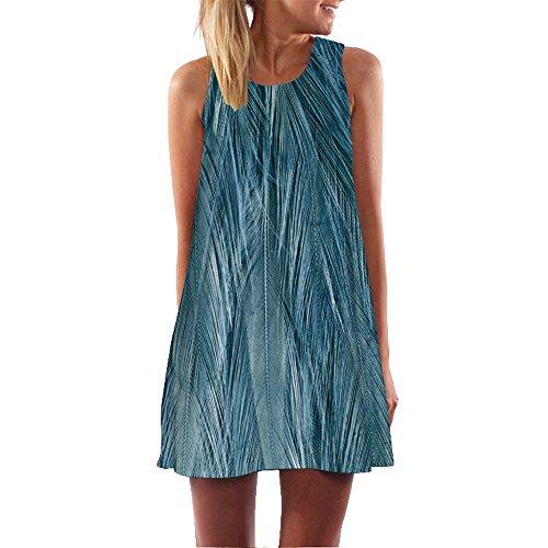 rauen Sommerkleider Sleeveless Strand Gedruckt Kurzes Minikleid Eine Linie Abendkleid Täglich beiläufige Partei Weste T-Shirt Kleid Plus Size Rock(X1Blau 6, EU-44/CN-L) ()