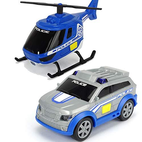 #11 Polizei Auto und Hubschrauber 10 cm mit Freilauf, Licht Sound - 10cm Spielzeug Einsatzwagen Fahrzeug