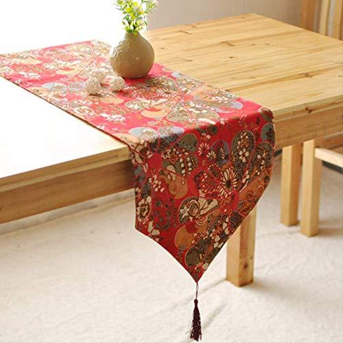 TTQIAOHUA Tischläufer Elegante Baumwolle Und Leinen Retro Stil Couchtisch Küche Tischdekoration 30X200 cm Rot
