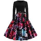 LEXUPE Sommerkleider Damen Kurzarm V-Ausschnitt Strand Blumen Kleider Abendkleid Knielang(Pink,Large)